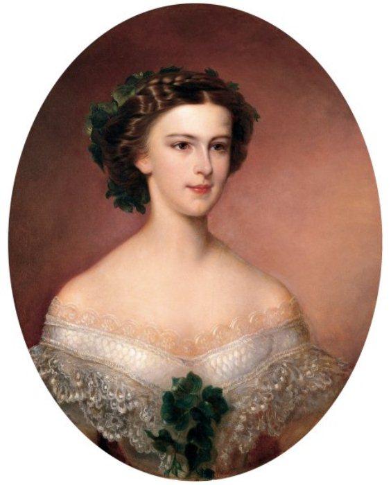 Юная Елизавета вскоре после того, как стала императрицей Австрии, 1855 г.