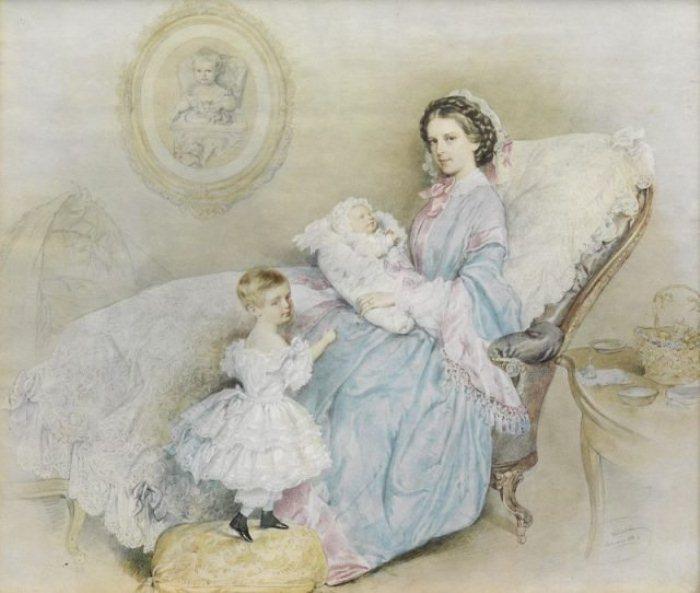 Императрица с двумя детьми, 1858 г.
