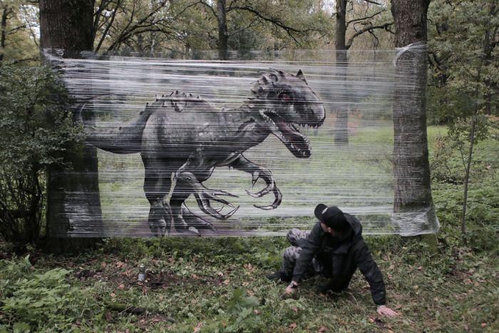 Динозавр. Стрит-арт.
