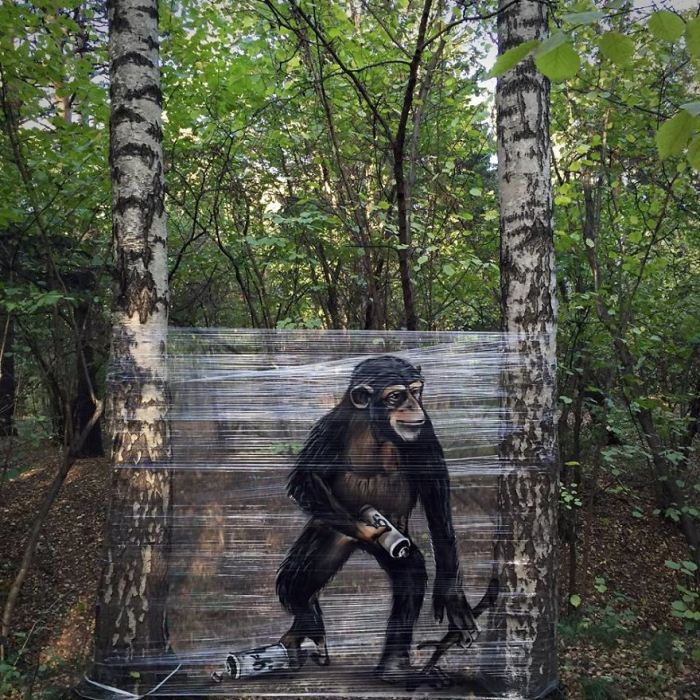 Обезьяна в лесу.