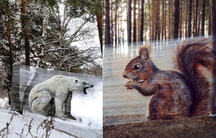 Стрит-арт в лесу от московского художника.