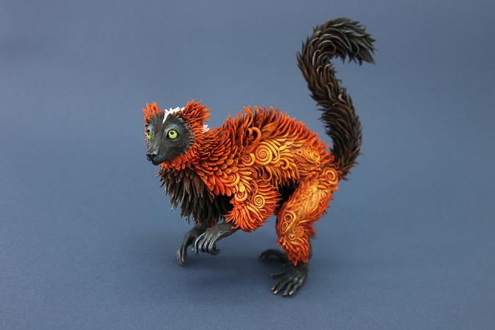 Фигурки животных из полимерной глины в стиле фэнтези