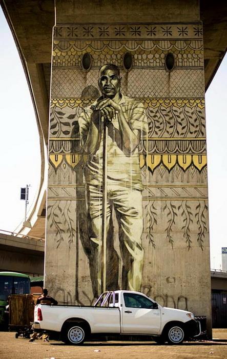 Фрески на опорах моста в Дурбане (Южная Африка)