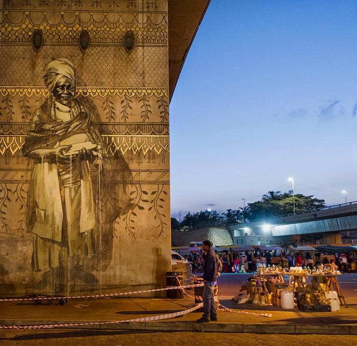 На фресках изображены местные рыночные торговцы