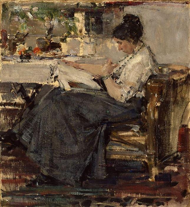 Николай Фешин. Портрет Сапожниковой, этюд, 1915 год
