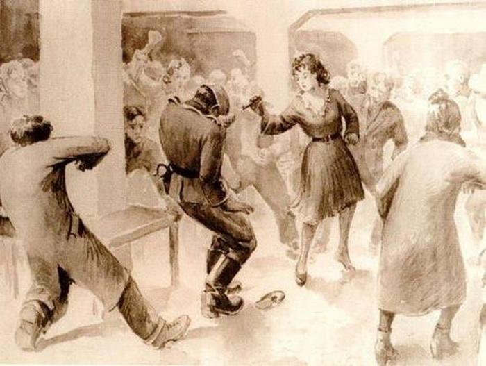 Франциска Манн убивает Йозефа Шиллингера 23 октября 1943 года. Предположительно рисунок Владислава Сивека, узника Освенцима. Фото: auschwitz.ssps.cz