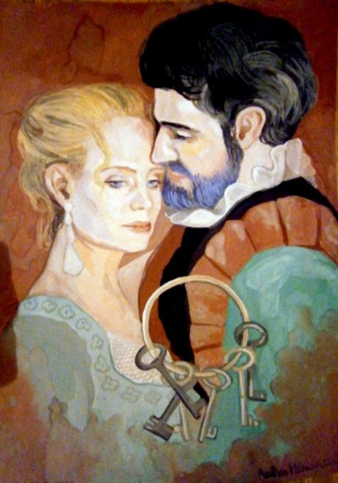 Иллюстрация к сказке о Синей Бороде