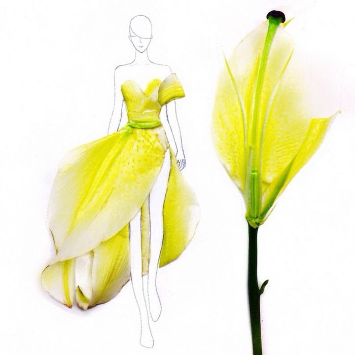 Эскизы платьев из лепестков цветов