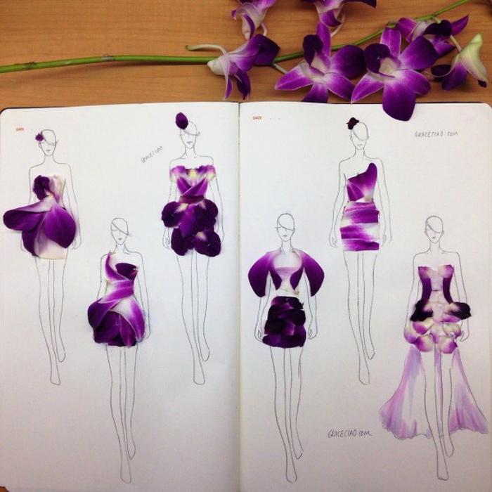 Фэшн-иллюстрации из лепестков цветов