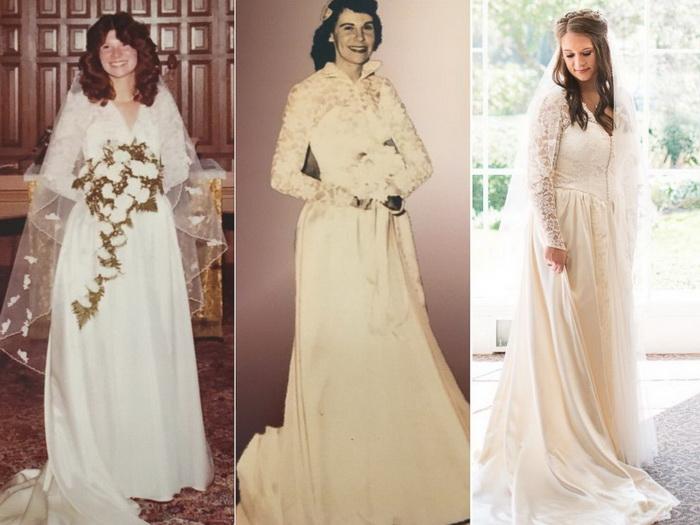 Три поколения женщин в одном и том же свадебном платье.