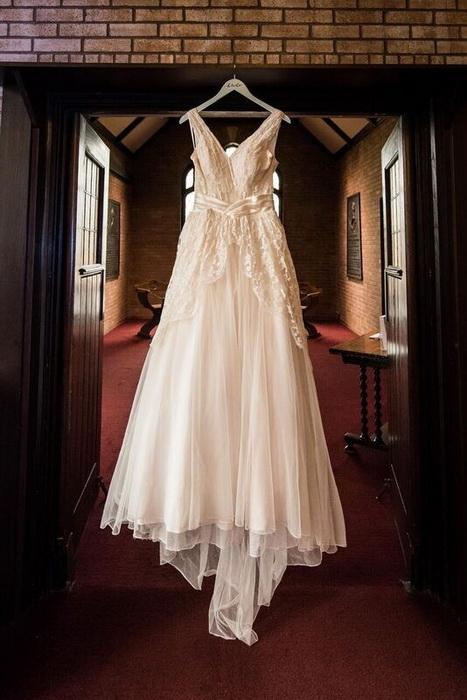 Старинное свадебное платье после реставрации.