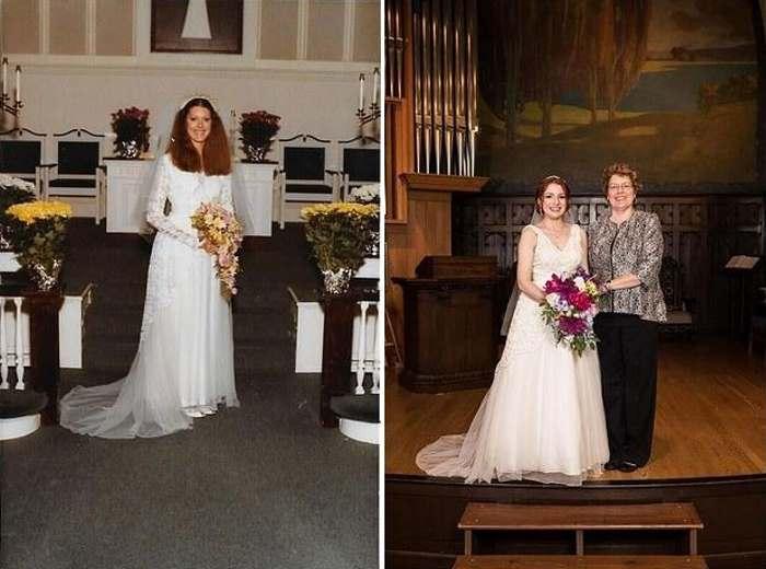 Мама и дочь в одном и том же свадебном платье.