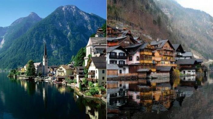 Справа австрийская деревня Гальштат, слева - китайская копия