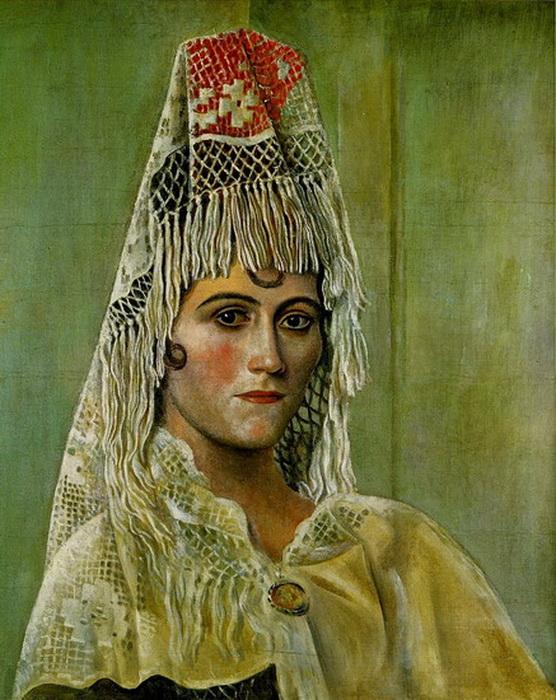 Ольга Хохлова в мантилье, 1917. Художник: Пабло Пикассо