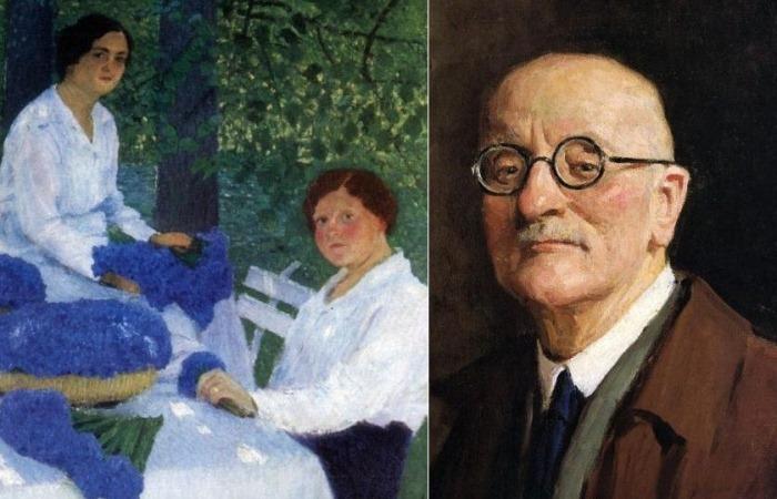 Портрет художника Игоря Грабаря и его картина *Васильки*.