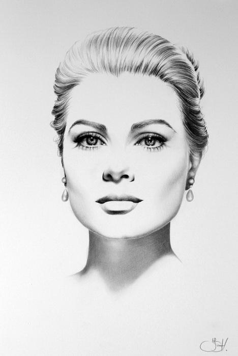 Портрет Грейс Келли простым карандашом от Илеаны Хантер (Ileana Hunter)