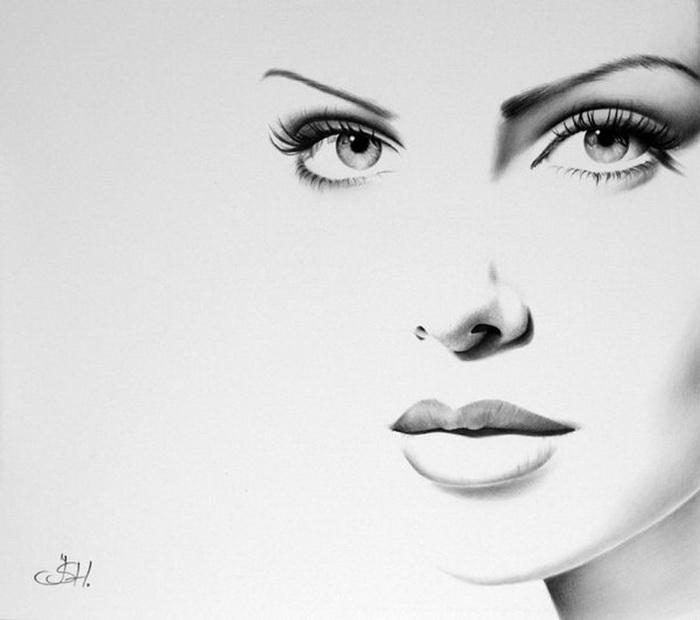 Портрет Шерлиз Терон простым карандашом от Илеаны Хантер (Ileana Hunter)