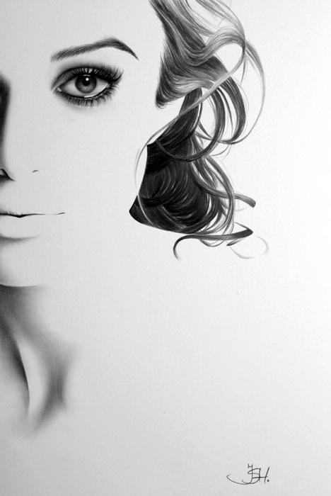 Портрет Киры Найтли простым карандашом от Илеаны Хантер (Ileana Hunter)