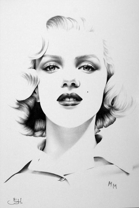 Портрет Мерилин Монро простым карандашом от Илеаны Хантер (Ileana Hunter)
