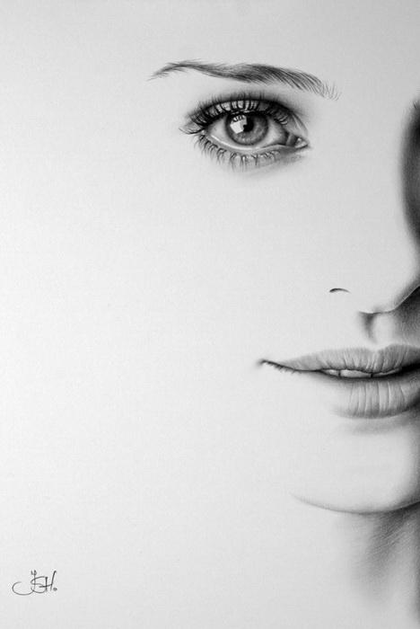 Портрет Натали Портман простым карандашом от Илеаны Хантер (Ileana Hunter)