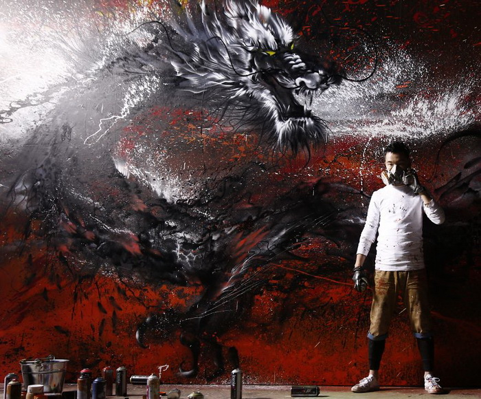 Императорский дракон: новій мурал от художника Hua Tunan (Chen Yingjie)