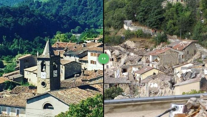 Землетрясение в Италии: фотографии до и после катаклизма