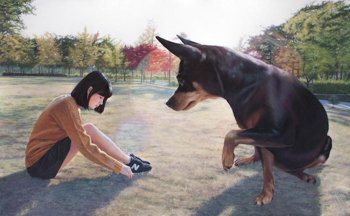 Девочка и ее собака: картины корейского художника Чжон Ву Чжэ (Jeong Woo Jae)