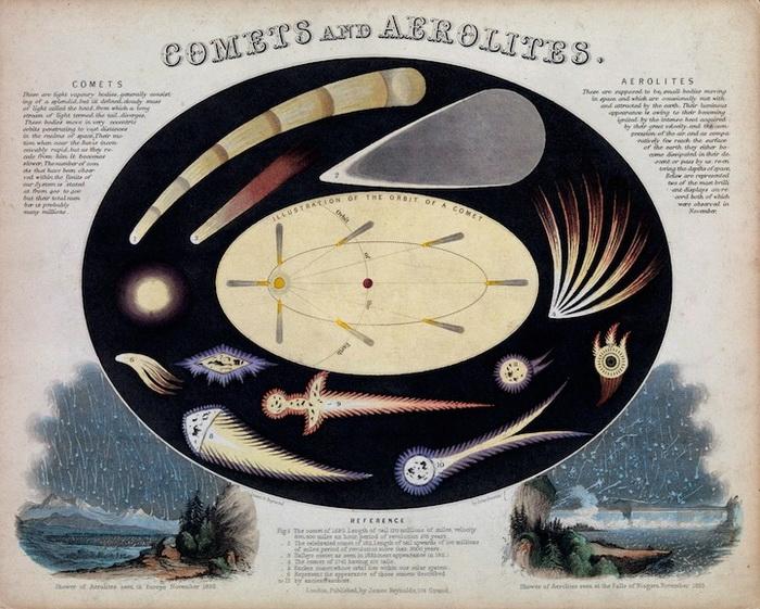 *Кометы и астероиды*. Инфографика Джона Филипса Эмсли (John Philipps Emslie)