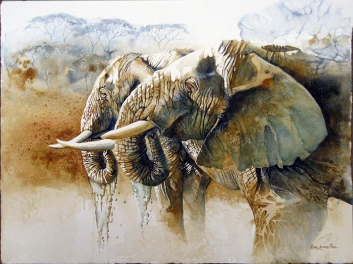 На картинах Karen Laurence-Rowe гармонирует пейзаж и дикие животные