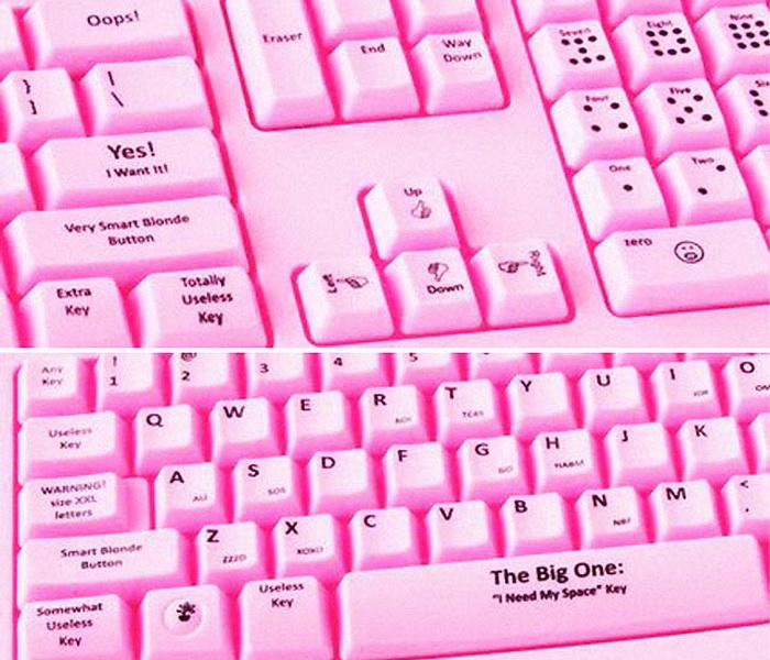 Креативные идеи для офисных сотрудников: розовая клавиатура для блондинок