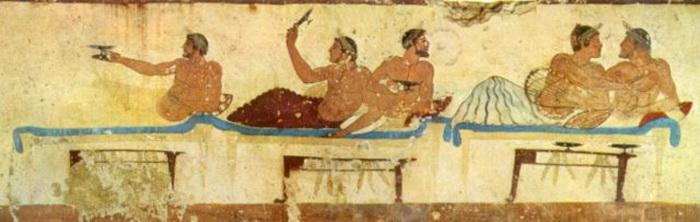 Игра в коттаб на симпосии. Фреска из «Гробницы ныряльщика» в итальянском Пестуме (около 470 г. до н. э)