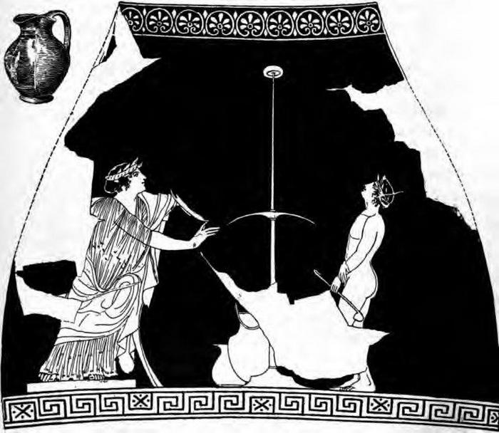 Игра в коттаб с шестом. Рисунок на ойнохойе, 440 год до н. э.