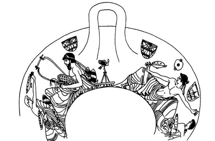 Коттаб, в котором мишенью служит бронзовая птицеподобная фигурка. Рисунок на чаше, около 490 года до н.э.