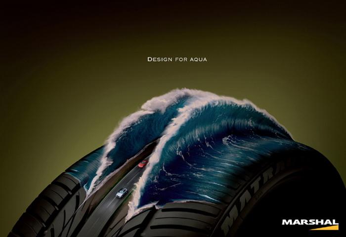 Cерия рекламных плакатов, на которых изображены автомобильные шины компании Kumho