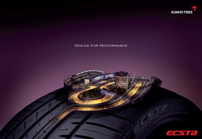 Серия рекламных плакатов, на которых изображены автомобильные шины компании Kumho