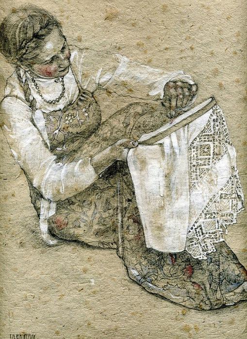 'Вышивальщица', акварель Марии Курбатовой
