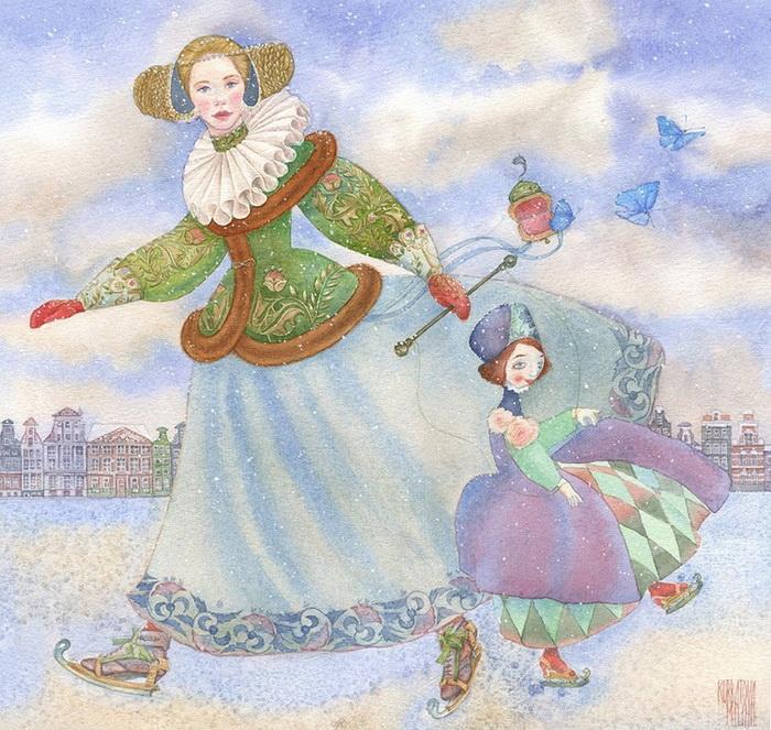 'Голубка', акварель Марии Курбатовой