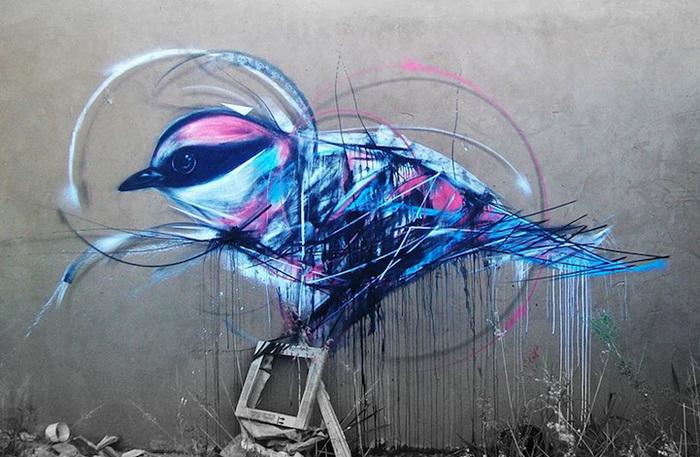 Пернатый стрит-арт: птицы на граффити от L7m