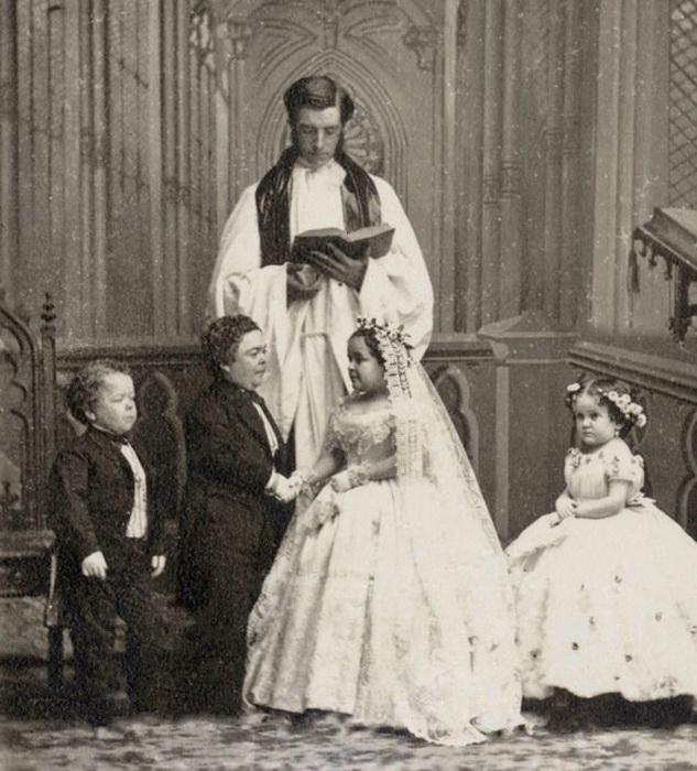 Свадебная фотографии Лавинии Уоррен и генерала Том-Тама.