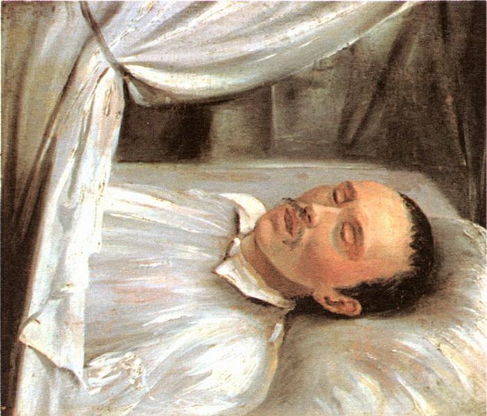 М. Ю. Лермонтов на смертном одре. Р. К. Шведе. Масло. 1841 год