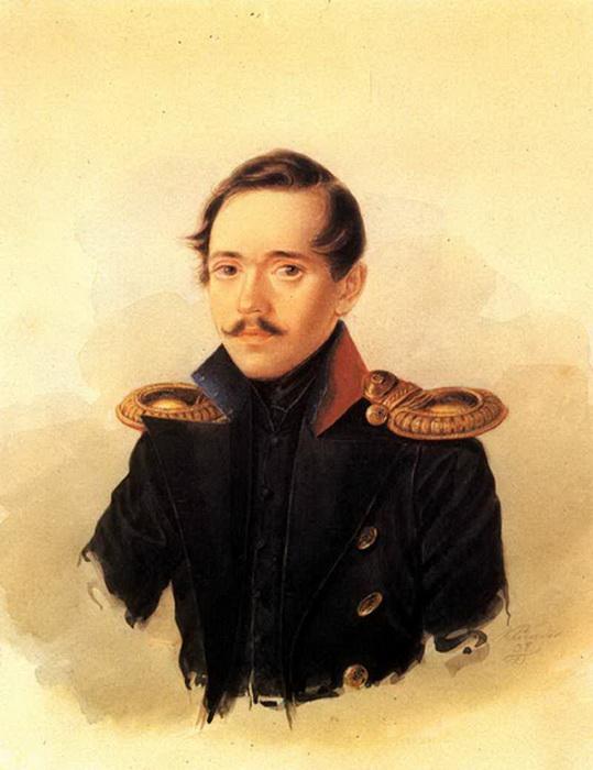 М. Ю. Лермонтов в сюртуке лейб-гвардии Гусарского полка. А. И. Клюндер. Акварель. 1838 год