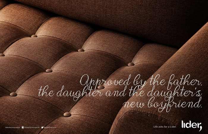 Реклама мебели Lider Interiores: Одобрено отцом, дочерью и ее новым бойфрендом