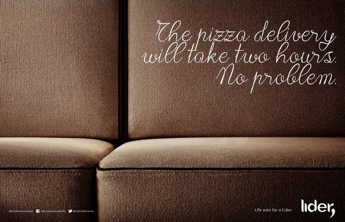 Реклама мебели Lider Interiores: Доставка пиццы займет два часа. Без проблем