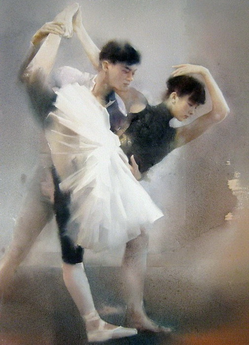 Танцоры на картине Liu Yi