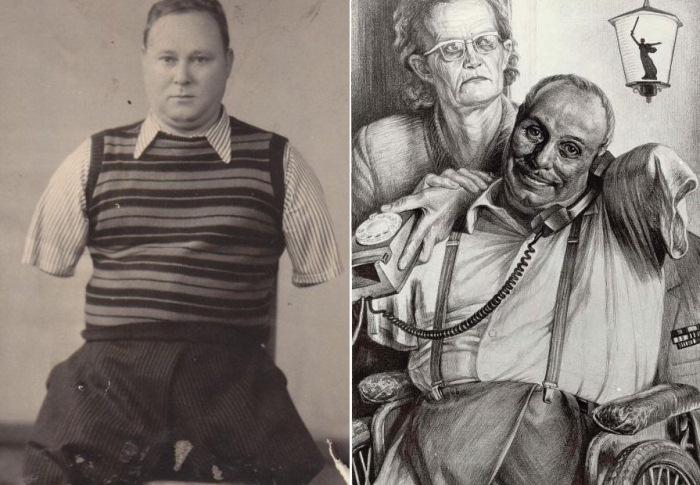 Фотография Василия Лобачева и портрет семьи Лобачевых художника Геннадия Доброва.