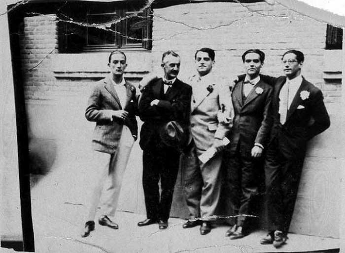 Сальвадор Дали, Морено Вилья, Луис Буньюэль, Федерико Гарсиа Лорка и Хосе Антонио Рубио. Фото: lichnosti.net