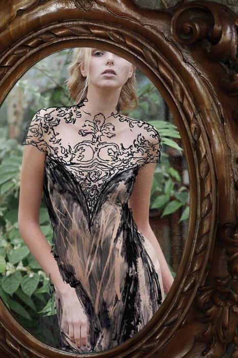 Обнаженная модель в нарисованных платьях: фотоцикл от Luca Meneghel