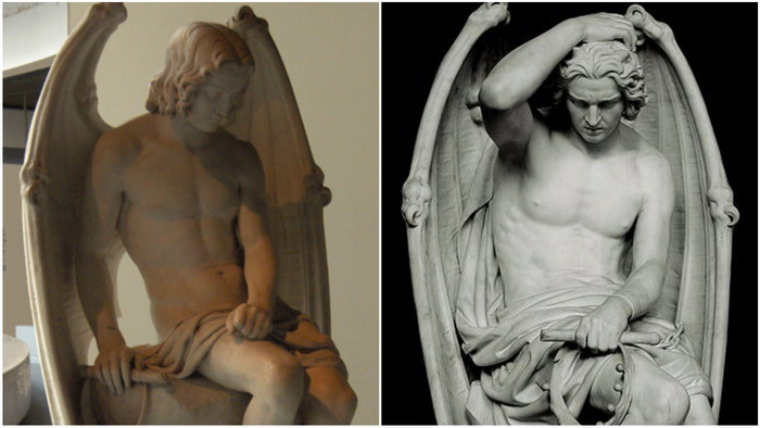 Две скульптуры Люцифера, установленные в разные годы в Льежском соборе, Бельгия