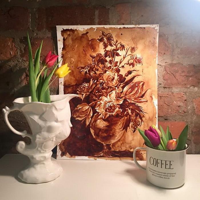 Копия картины Хуана де Арельяно. Кофейная живопись от Maria Aristidou