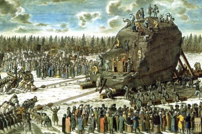 Перевозка Гром-камня в присутствии Екатерины II. Гравюра И.Ф. Шлея с рисунка Ю.М. Фельтена. 1770 год. Фото: en.wikipedia.org